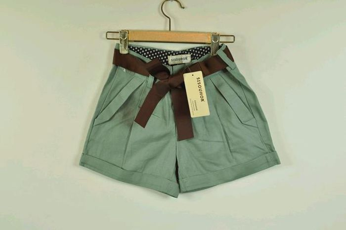 Casual Cotton Short Trousers With Bowknot Belt For Women