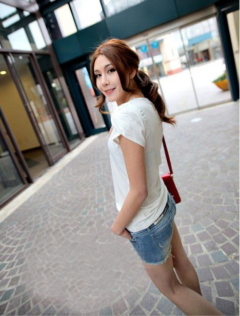 New Arrival Korea Style Light Blue Hot Jeans