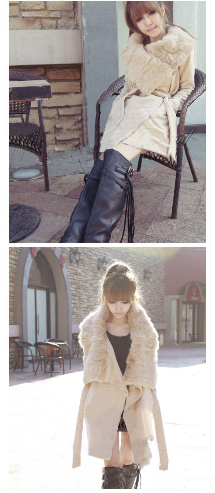Warmly and Slim Lapel Light Camel Long Sleeves Lamb Wool+Pu Coat For Women