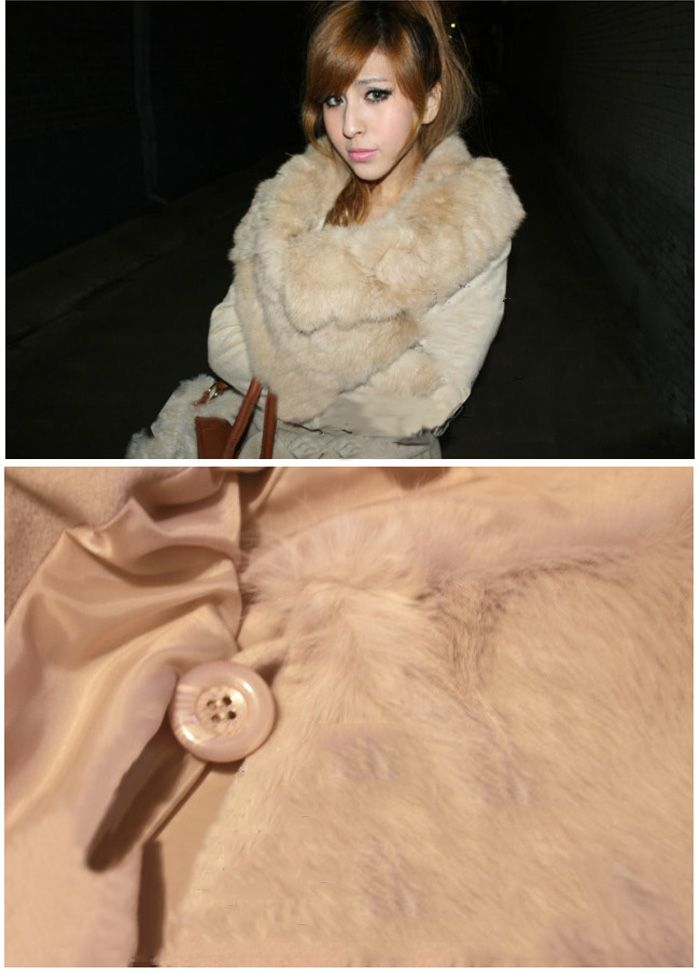 Warmly and Slim Lapel Light Camel Long Sleeves Lamb Wool+Pu Coat For Women