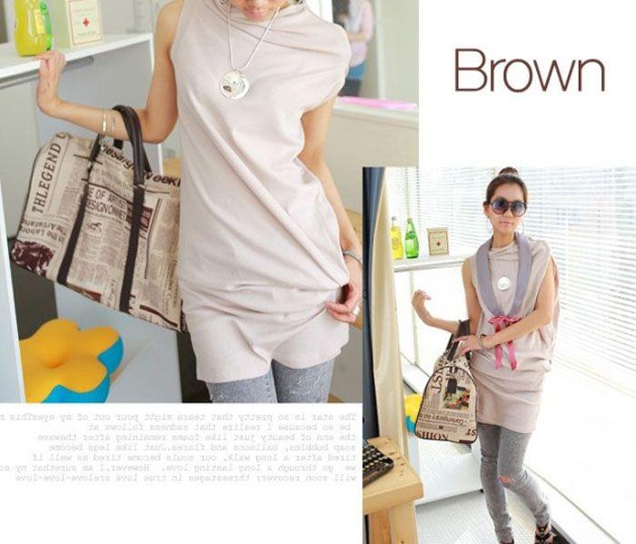 Stylish English Newspaper Pattern Design Beige Silk Flannelette Women's Bag