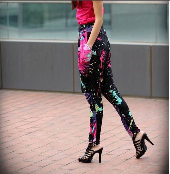 Cool and Refreshing Style Colorful Ink-Panting Harem Pants
