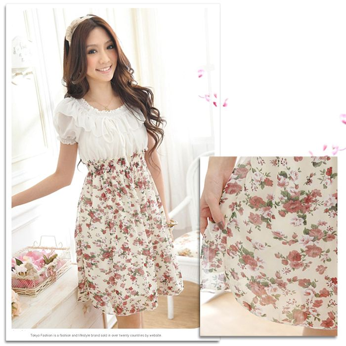 Spring New Arrival Sweet and Lovely Floral Patterns High Elastic Waist Short Sleeve Chiffon Dress