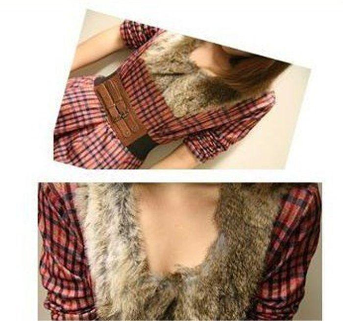 Fashionable V-Neckline Artificial Wool Embellished Collar Long Sleeve Dress With Belt
