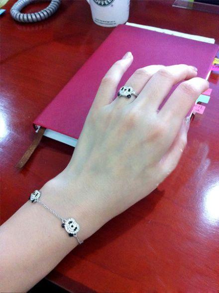 Little Panda Rhinestone Embellished Ring