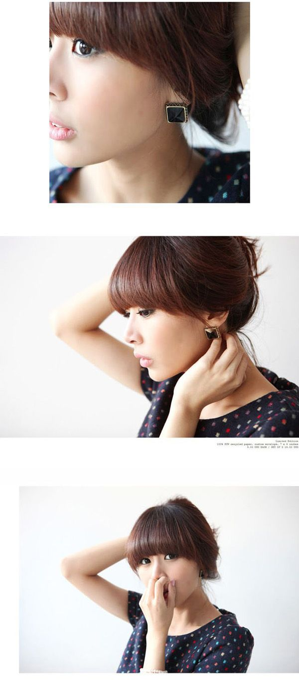 Corean Simple and Gentle Style Square Shape Designed Earrings