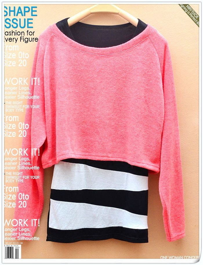 Warming Round Neckline Irregularity Stripes Long Sleeves Two Pieces Dress For Women