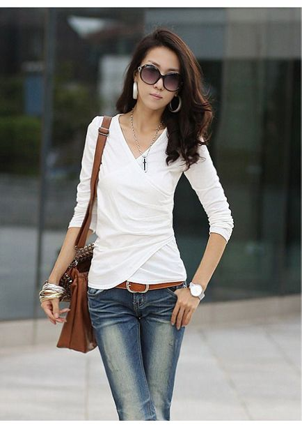 Elegant V-Neck Fold Style Quarter Sleeves Cotton T-Shirt For Women