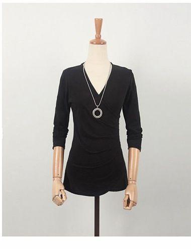Elegant V-Neck Fold Style Quarter Sleeves Cotton T-Shirt For Women