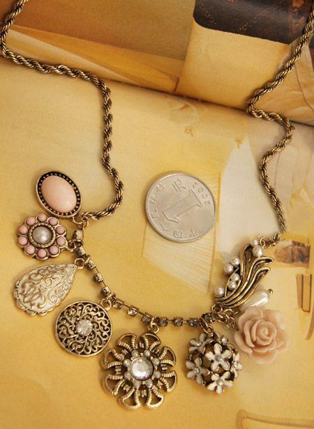 Vintage Style Multielement Large Pendant Necklace