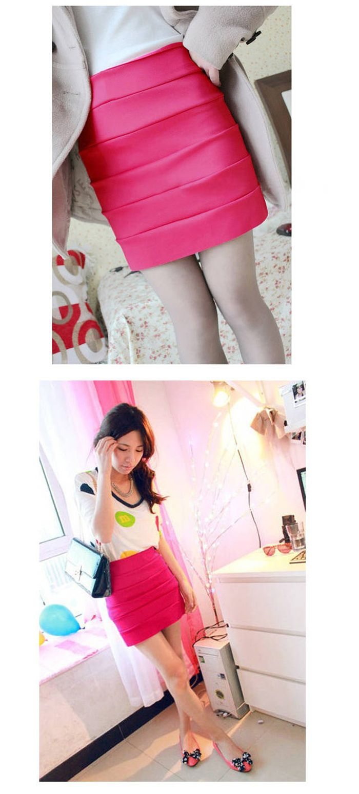 Hot Sales Mix Match Stripes High Waist Hips Curve Modified Candy Color Skirt For Women
