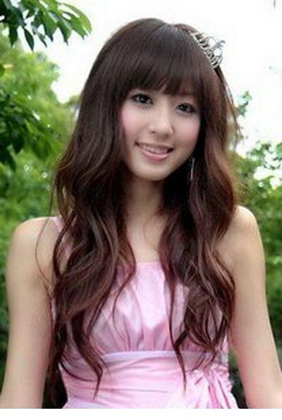 Cute Princess Neat Bang Fluffy Long Curly Wig--Common Hair