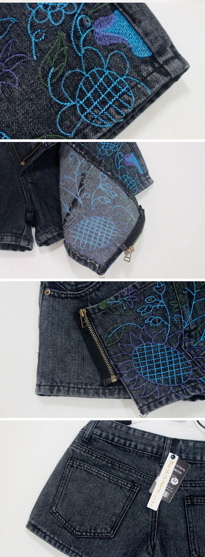 Special Design Cirrus Embroidery Diagonal Zipper False Skirt Black Jeans+Cotton Short Pants For Women