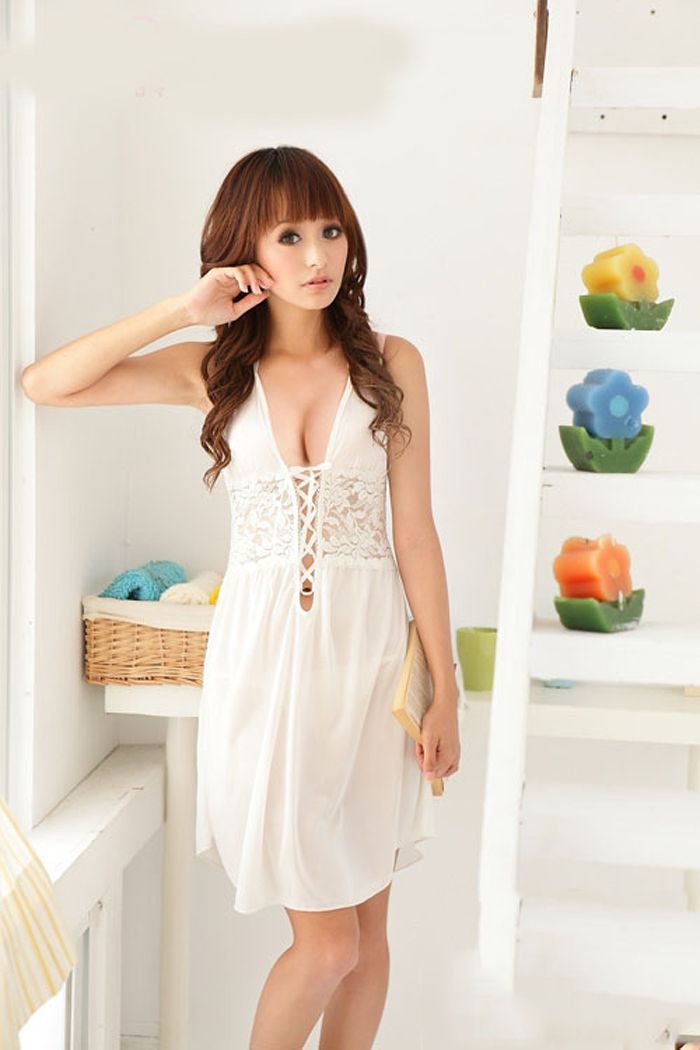 Sexy Deep Neckline Two-Piece Sexy Lingeries For Women White Dress + T-Back