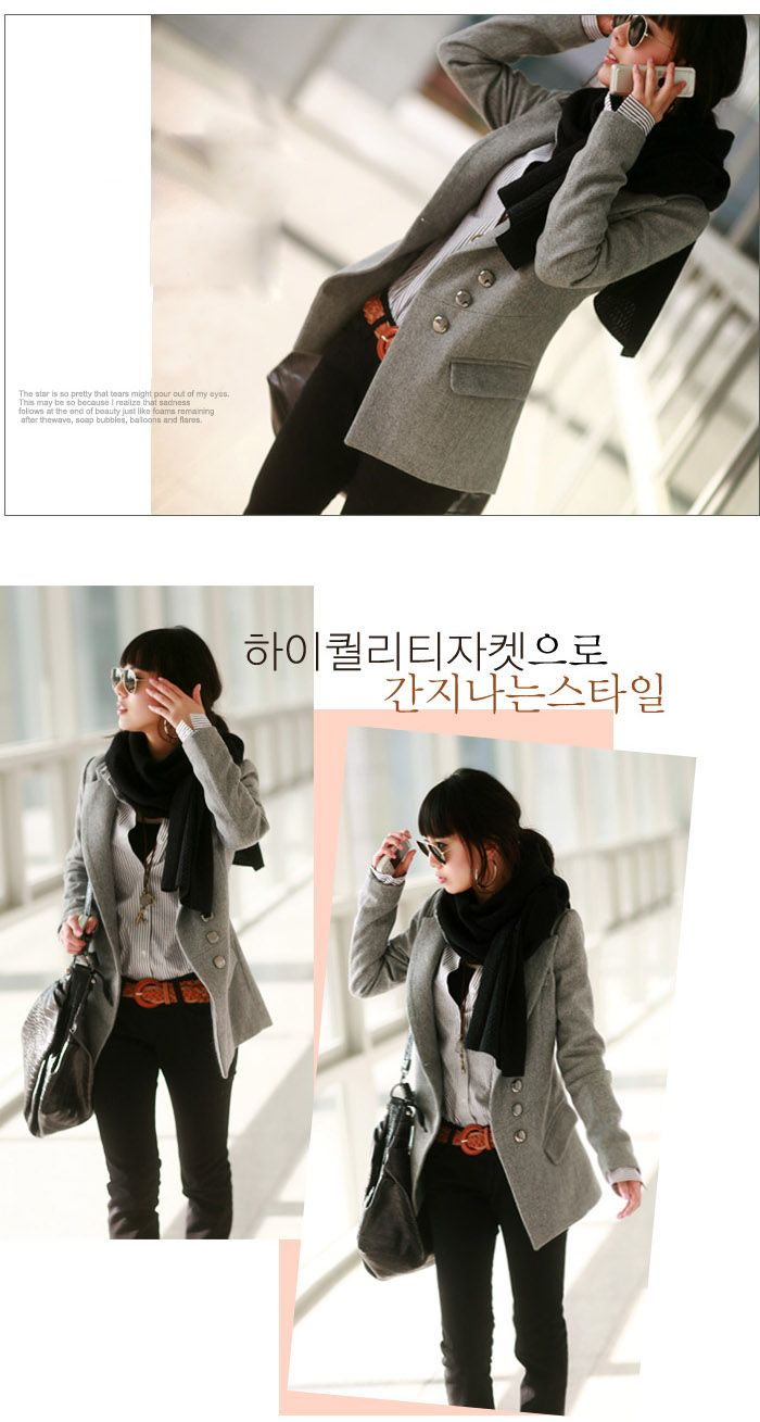 Korea Fashion Exquisite Workmanship Fit Tailored Medium Style Woollen Coat
