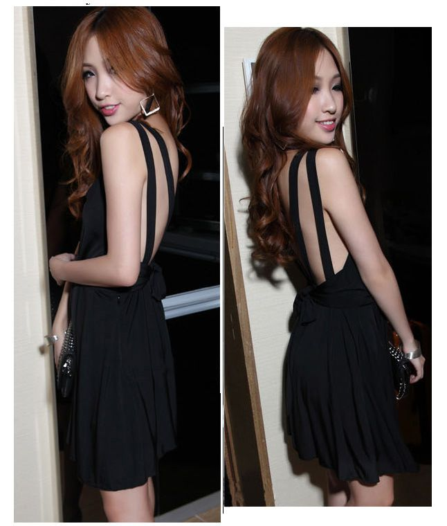 Sexy Deep V-Neckline Backless High Elastic Cotton Mini Pleated Dress For Women
