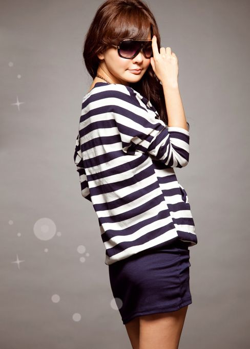 Stylish Stripes Patterns Bat Sleeve Colormatching Dress For Women