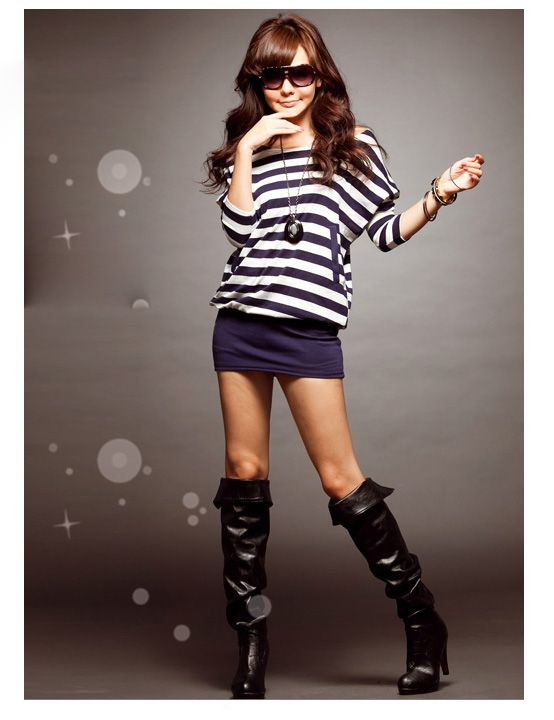 Stylish Stripes Patterns Bat Sleeve Colormatching Dress For Women