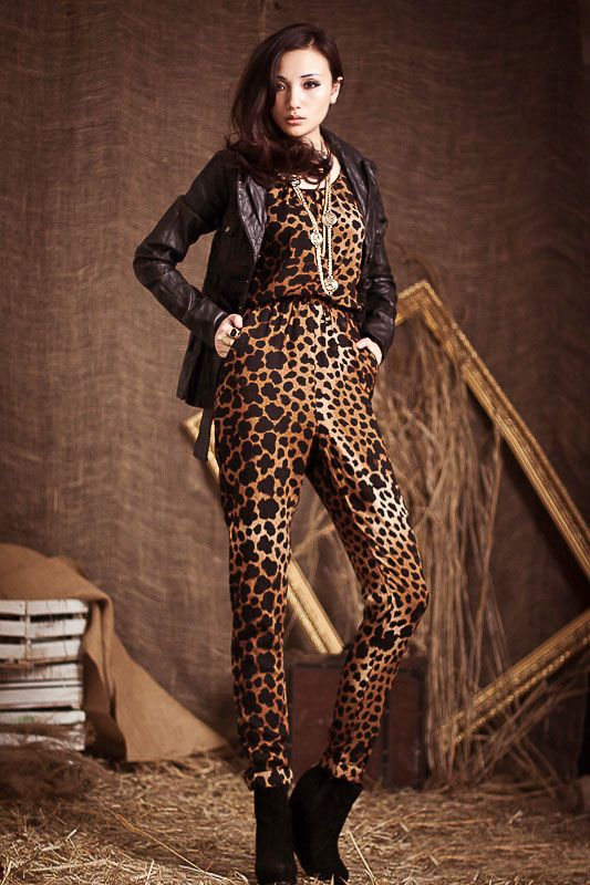 Delicate Scoop Neck Leopard Pattern Elastic Waisted Sleeveless Silk Wadding Jumpsuits For Women