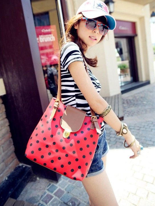 New Arrival Dot Printed and Snap Fastener Design One-Shoulder Bag For Female