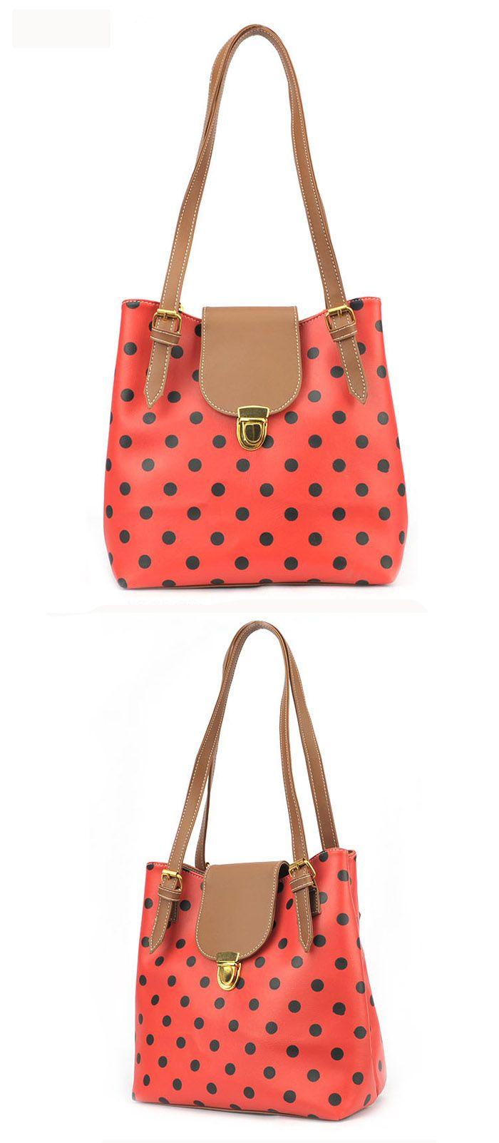 New Arrival Dot Printed and Snap Fastener Design One-Shoulder Bag For Female