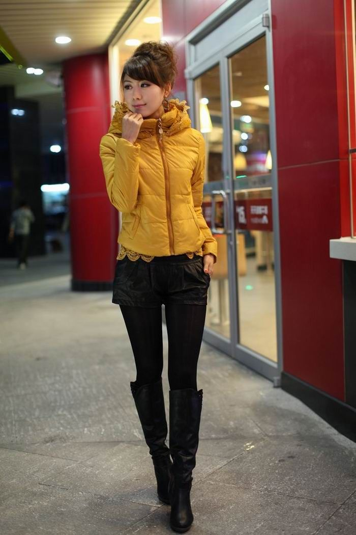 Warming and Exquisite Stand Collar Solid Color Lace Hem Long Sleeves Ployester Coat For Women