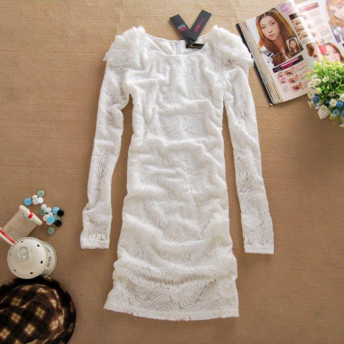 Elegant Scoop Neck Handmade Flowers Embellished Hidden Floral Print White Long Sleeves Lace Dress For Women