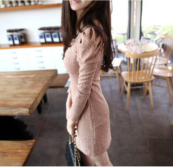 Slimming Scoop Neck Golden Chain Embellished Solid Color Apricot Long Sleeves Cotton Blended Dress For Women