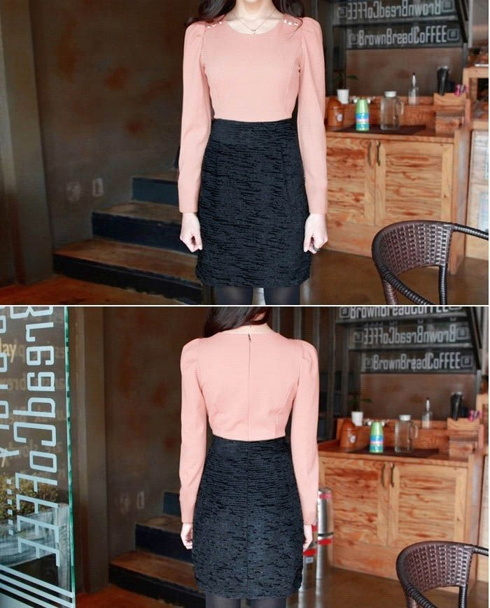 Charming Scoop Neck Golden Button Embellished Colormatching Long Sleeves Dress For Women