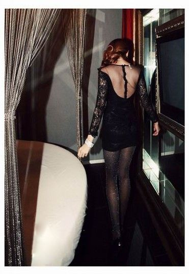 Sexy Plunging Neckline Perspective Black Lace + Mesh Mini Dress For Women