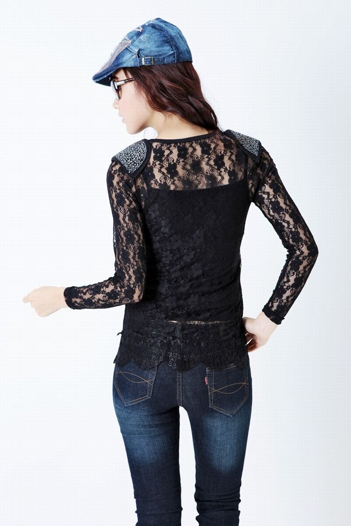 Sexy and Perspective Flower Embroidery Long Sleeve Lace Blouse For Women
