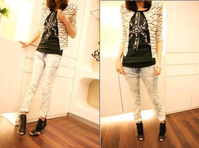Korean Style Scoop Neck Three Quarter Sleeves Stripe Shirt For Women