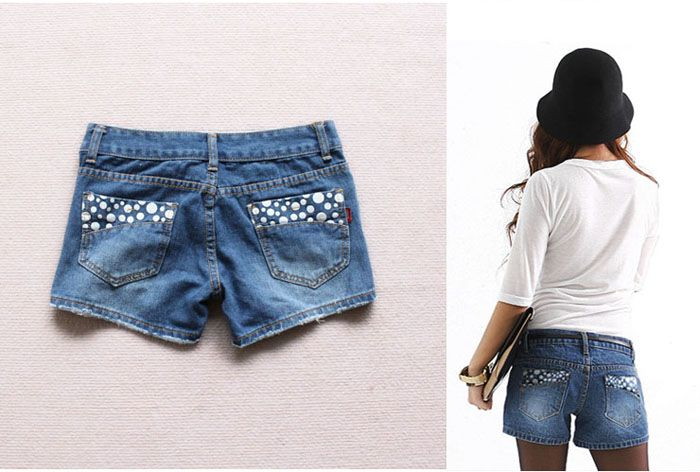 Stylish Pocket Behind Speckle Embellished Jeans Pants For Women