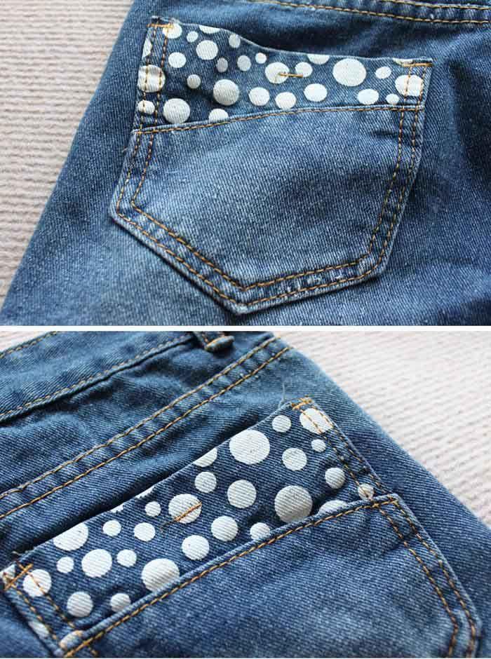 Stylish Pocket Behind Speckle Embellished Jeans Pants For Women