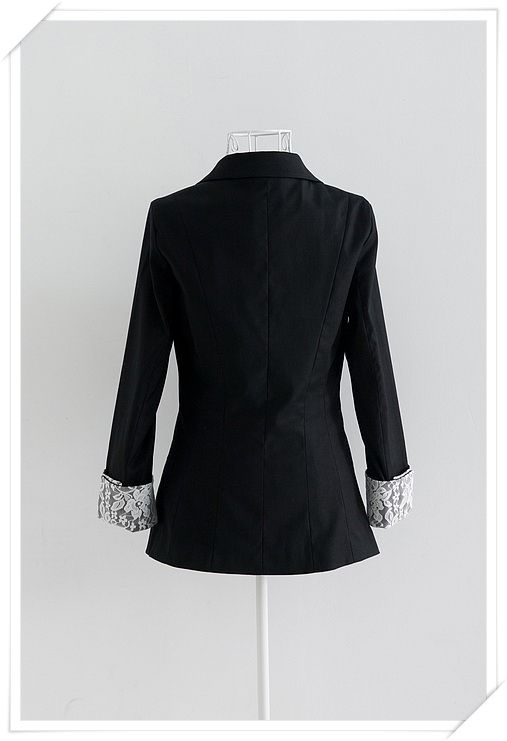 Office Lady Style Black Lace Embellished Sleeves and Turndown Collar Coat For Women