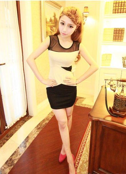 Sexy Scoop Neck Transparent Color-Match Sleeveless Blending+Gauze Dress For Women