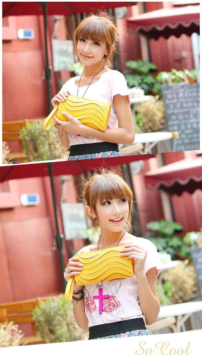 Fashion Candy Color Wave Veins Embellished Small Bag For Women