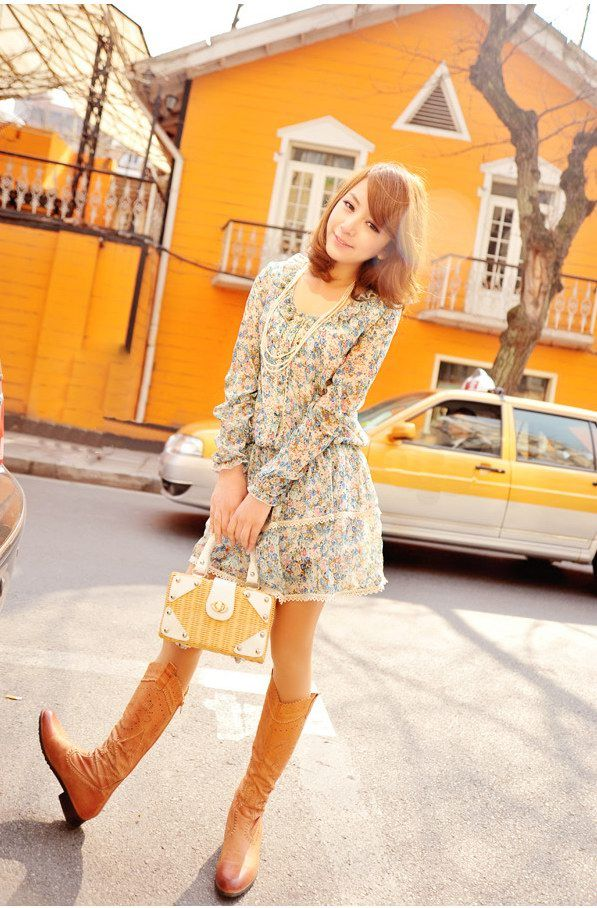 Retro Style Long Sleeves Tiny Floral Print Dress For Women