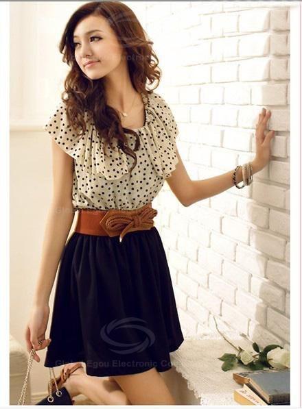 Korean Women Summer New Fashion Short-sleeve Dots Polka Waist Dress