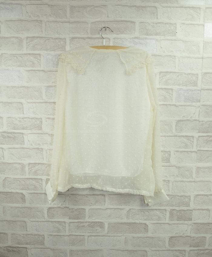 Sweet Lace Embellished Collar Faux Pearl Button Design Long Sleeves Chiffon Shirt For Women