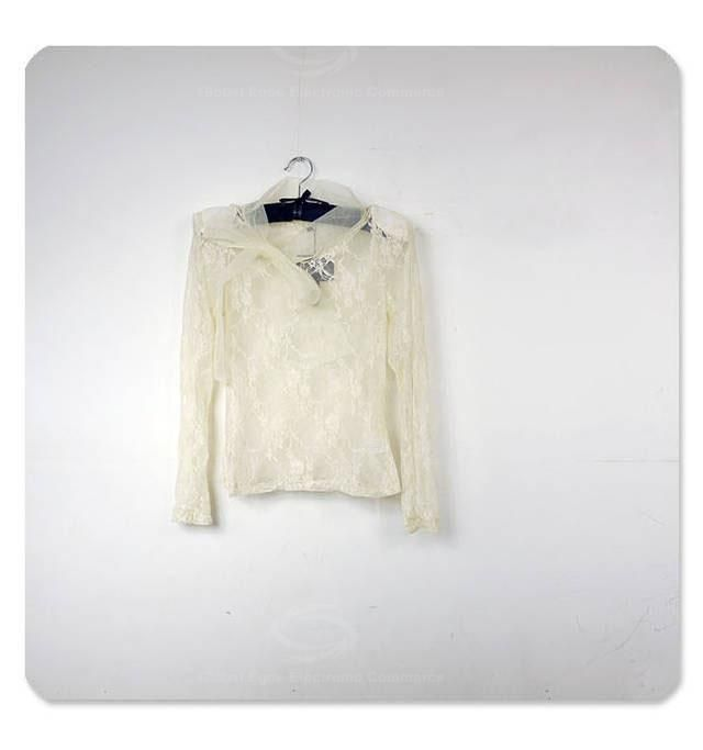 Elegant Bow-Tie Embellished Perspective Openwork Long Sleeves Apricot Lace Shirt For Women