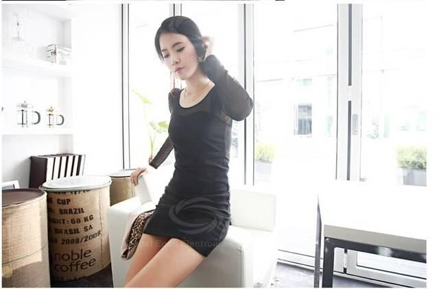 Charming Sexy Style Scoop Neck Splicing Perspective Voile Long Sleeves Voile+Spandex Dress For Women