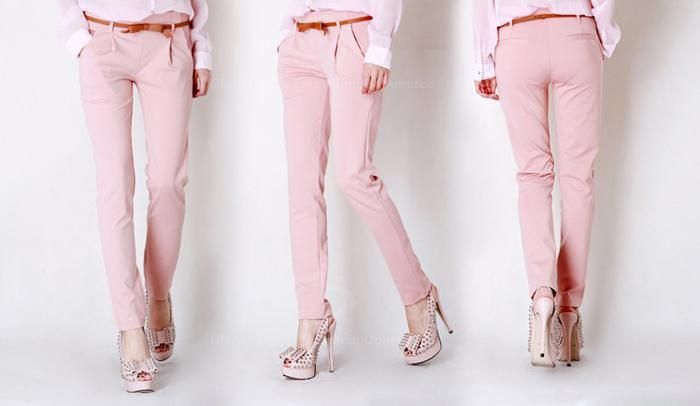 Stylish and Casual Style Solid Color Side Zipper Design Slimming Cotton Blended Trousers For Women