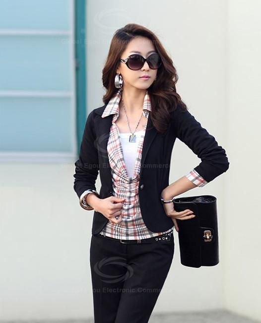 Sophisticated Slimming One Button Multicolor Cotton Blend Short Coat For Women
