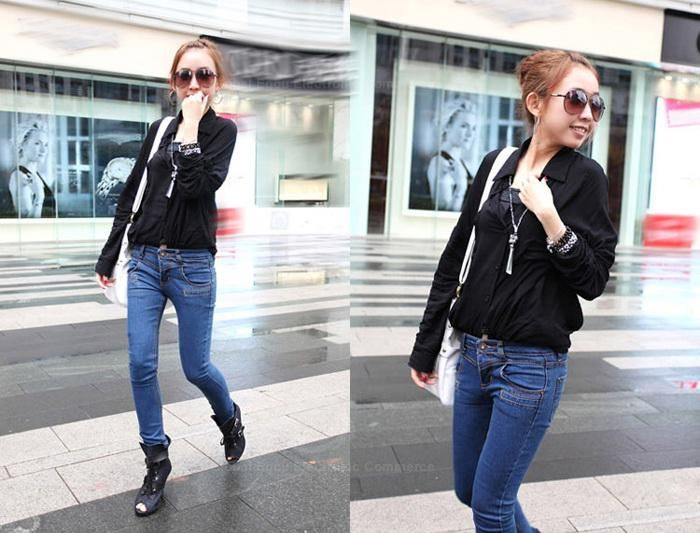 Stylish Lapel Single-Breasted and Pocket Design Bat-Wing Sleeves Loose-Fitting Shirt For Women