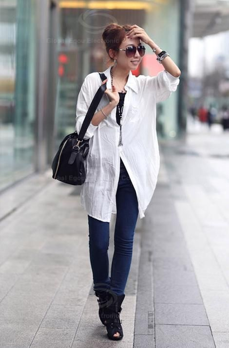 Casual Style Lapel and Single-Breasted Design Solid Color Pleated Shirt For Women