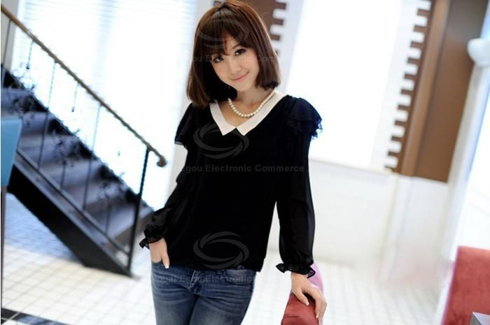 Lady Like V Neckline Color Match Flounce Enbellished Long Sleeves Chiffon Blouse For Women
