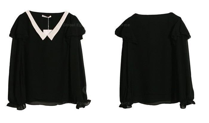 Lady Like V Neckline Color Match Flounce Enbellished Long Sleeves Chiffon Blouse For Women