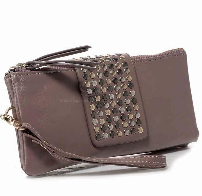 New Arrival Solid Color Rivet Embellished Clutch Bag For Women