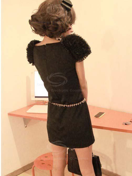 Graceful Flower Puff Shoulder Short Sleeves Scoop Neck Solid Color Dress For Women